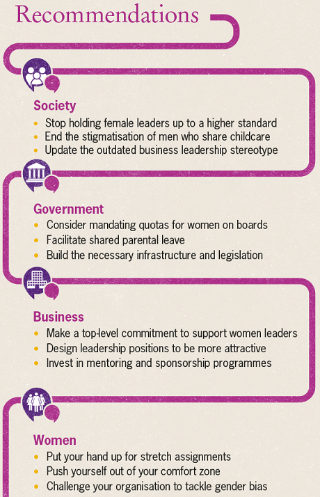 12 recommendations to facilitate female career paths
