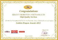 Golden Dragon Award 2012 -2013 for the high quality services